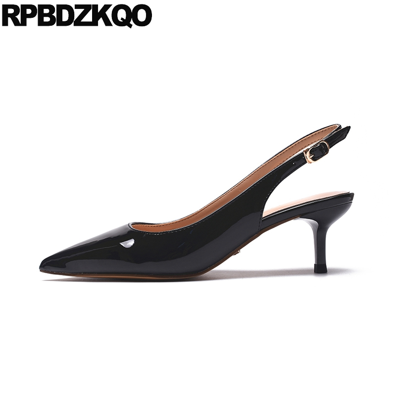 2018 Bride Size 4 34 Bridal Shoes Wedding Pumps Patent Leather High Heels Slingback Strap Pointed Toe Black Women Sandals Kitten pointed toe slip on high heels strappy 2017 chic size 4 34 black ladies kitten sandals medium fashion low summer shoes slingback page 7