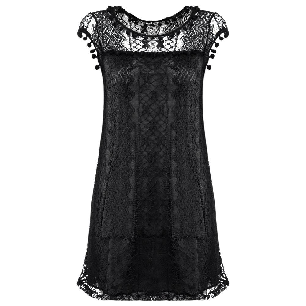 VESTLINDA Lace Dress Women O Neck Sleeveless Solid White Dress Summer 2017 Fresh Style Loose Mini Short Dress Vestidos Plus Size 9