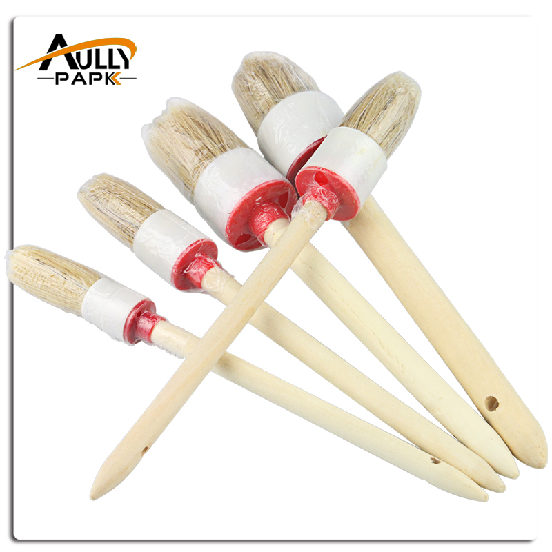 New 5 PCS Car Cleaning Wood Handle Car Detailing Brushes For Interior Dashboard Rims Wheel Air