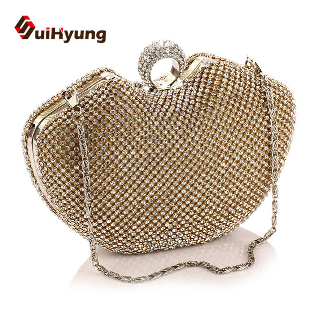 Free Shipping New Luxury Women's Party Evening Bags Fashion Heart Design Wedding Small Clutch Purse Shoulder Bags Woman Handbag