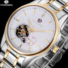 2016 FORSINING brand men watches business automatic self wind watch white tourbillion dial imported 316L stainless