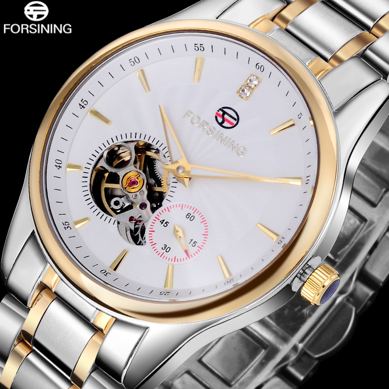 2017 FORSINING Fashion Business Watches Men Full Stainless Steel Tourbillon Automatic Mechanical Wristwatches Relogio Feminino 2015 forsining relogio pmw342