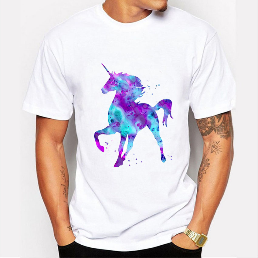 T Shirt Men 2016 Fashion Color Unicorn Print T shirt Mens ...