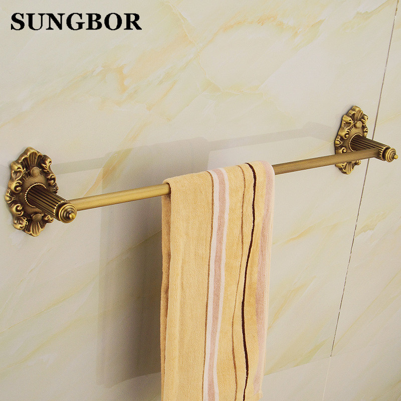 ФОТО Full copper antique bathroom single towel bar towel hanging bathroom hardware accessories european style satin surface GJ-8510F