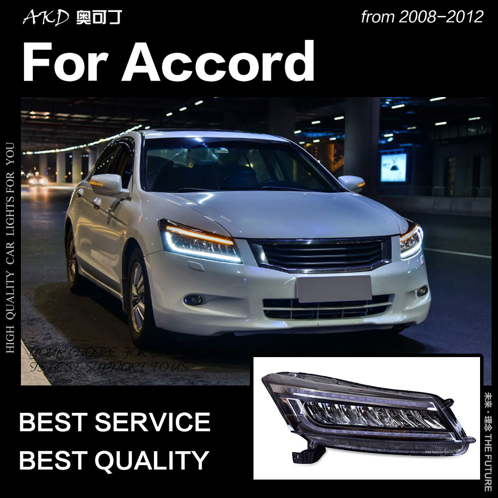 AKD Car Styling Head Lamp for Accord LED Headlight 2008 2012 Dynamic Signal LED DRL Hid