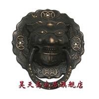 Haotian Vegetarian Bronze Chinese Antique Beast Head Brass Knocker Lion Head Copper Handle HTA 002
