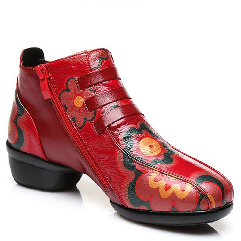 Doux Femme Appartements Confort Bottes 2018 Marque Réel Automne De rouge En Impression Nouveau Cuir Zxryxgs Noir Danse Cheville Chaussures Mode q4YTxTB