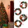 1pcs Snowman Christmas Deer Cloth Art Wreath Rattan Reed Wreath Garland Christmas Decoration Ornaments Party Supplies Home Decor 1