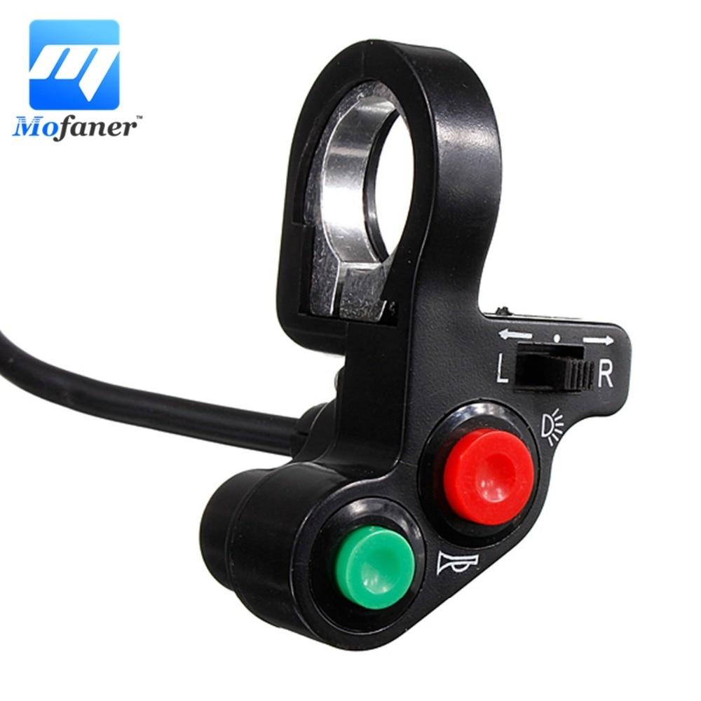 Interrupteur de clignotant pour moto | Et klaxon, bouton marche/OFF avec rouge vert pour guidon 7/8 Dirt Bike Scooter ATV
