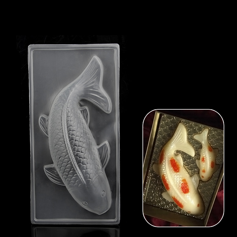 New diy 3d plastic koi fish cake chocolate mould jelly for Koi fish mold