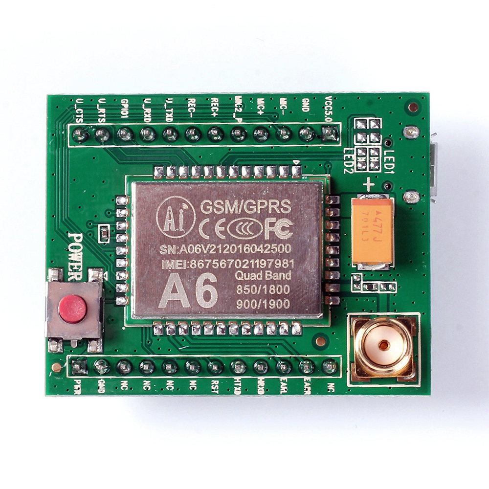 A6 GSM GPRS Module Quad Band SMS Voice 850MHz 900MHz 1800MHz 1900MHZ with Antenna for Arduino