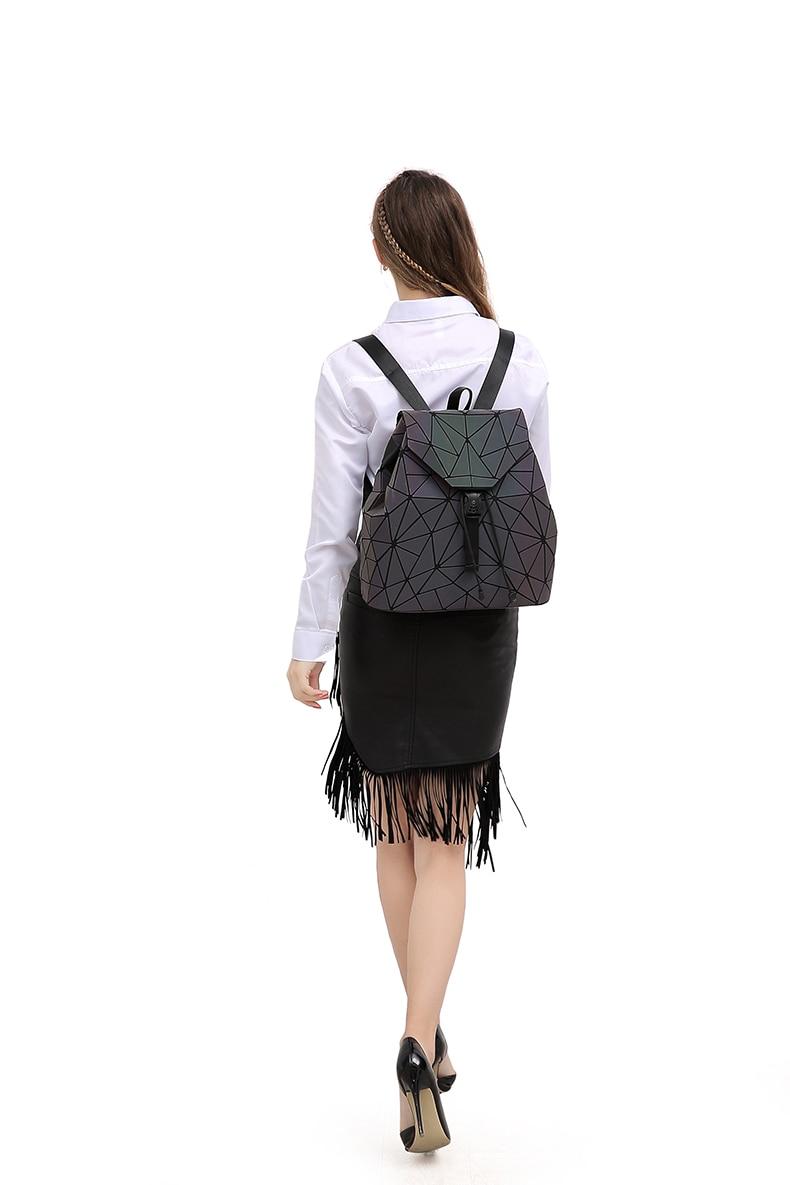 HTB1PWNwV9zqK1RjSZFLq6An2XXaF Women Backpack Luminous Geometric Plaid Sequin Female Backpacks For Teenage Girls Bagpack Drawstring Bag Holographic Backpack