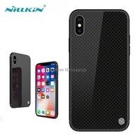 מזג משובץ מקרה עבור Apple iPhone X Nillkin מזג זכוכית כריכה אחורית עם מסגרת TPU רך עבור iphone x