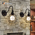 Retro indoor Vintage wall light LED lights iron cage lampshade lighting fixture E27 110-240V free shipping