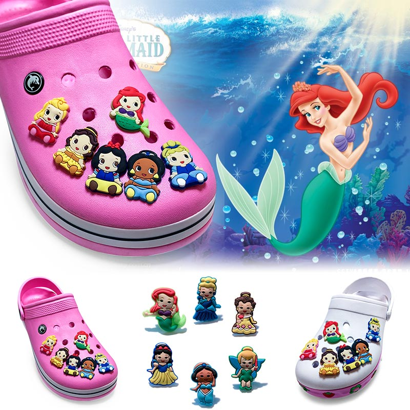цены Free shipping 30pcs New Princess PVC shoe charms shoe accessories shoe decoration for croc jibz kids gift  Kids Gift