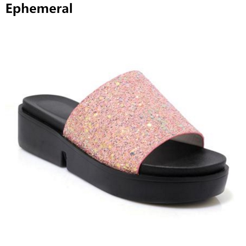 Female slippers platform chunky heels thick bottom sequined cloth bling shoes big size 44-34 women flat slides brand new black