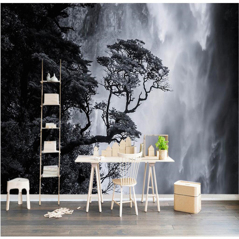 Custom Size Photo Background Wall Paper Waterfall Tree Black White Art Wall Covering BedRoom Mural Modern WallPaper Home Decor custom photo wall paper 3d modern tv background living room bedroom abstract art wall mural geometric wall covering wallpaper