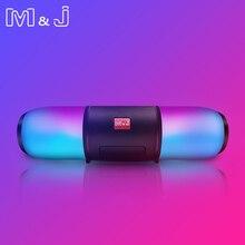 M & J Беспроводной портативный динамик bluetooth колонки звук коробка красочные светодиодный свет сабвуферный Стереодинамик Поддержка USB TF FM с микрофоном