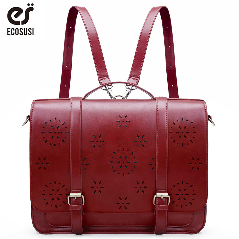 ECOSUSI 15.3 Inch PU Leather Bags Women Loptop Bags Retro Messenger Bags Famous Designer Shoulder Bag Hollow School Bag Travel