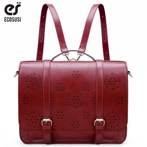 Image 1 - ECOSUSI 15.3 Inch PU Leather Bags Women Loptop Bags Retro Messenger Bags Famous Designer Shoulder Bag Hollow School Bag Travel