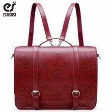 "ECOSUSI New 15.3"" PU Leather Retro Women Messenger Bags Famous Designer Shoulder Bag Hollow Laptop School Bag Fashion 2019"