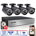 ZOSI 8-КАНАЛЬНЫЙ ВИДЕОНАБЛЮДЕНИЯ Система 1080 P HDMI CCTV DVR 4 ШТ. 2.0MP 3000TVL ИК Купольная Камера 1920*1080 P DVR Комплект Камеры Системы Видеонаблюдения 1 ТБ