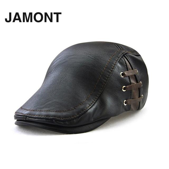 JAMONT invierno PU gorras de cuero a prueba de viento hombre Boina vendaje  sombrero 2018 nuevo 41922a2a918