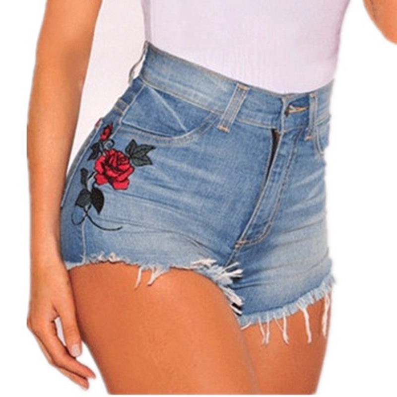 NORMOV Summer Women Sexy Denim Jeans Shorts Floral Embroidered Shorts Elastic High Waisted Female Cotton Booty Plus Size Shorts