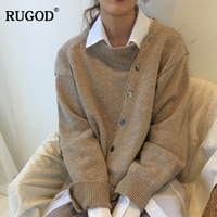 RUGOD New Fashion Female Lace Up Cardigans 2018 Casual O Neck Long Sleeve Single Breasted Knitted Sweater For Women Sueter Mujer