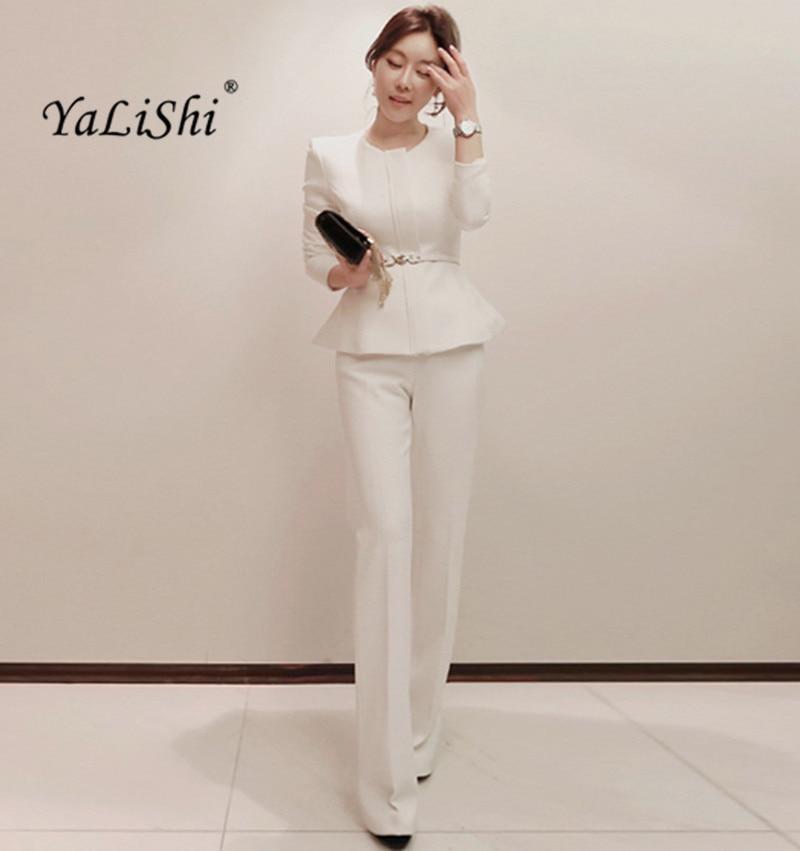 Women 2 Pieces Sets 2017 New Autumn Womens Business Suits White Pants Suit Formal OL Business Suit Long Sleeve Trouser Suit