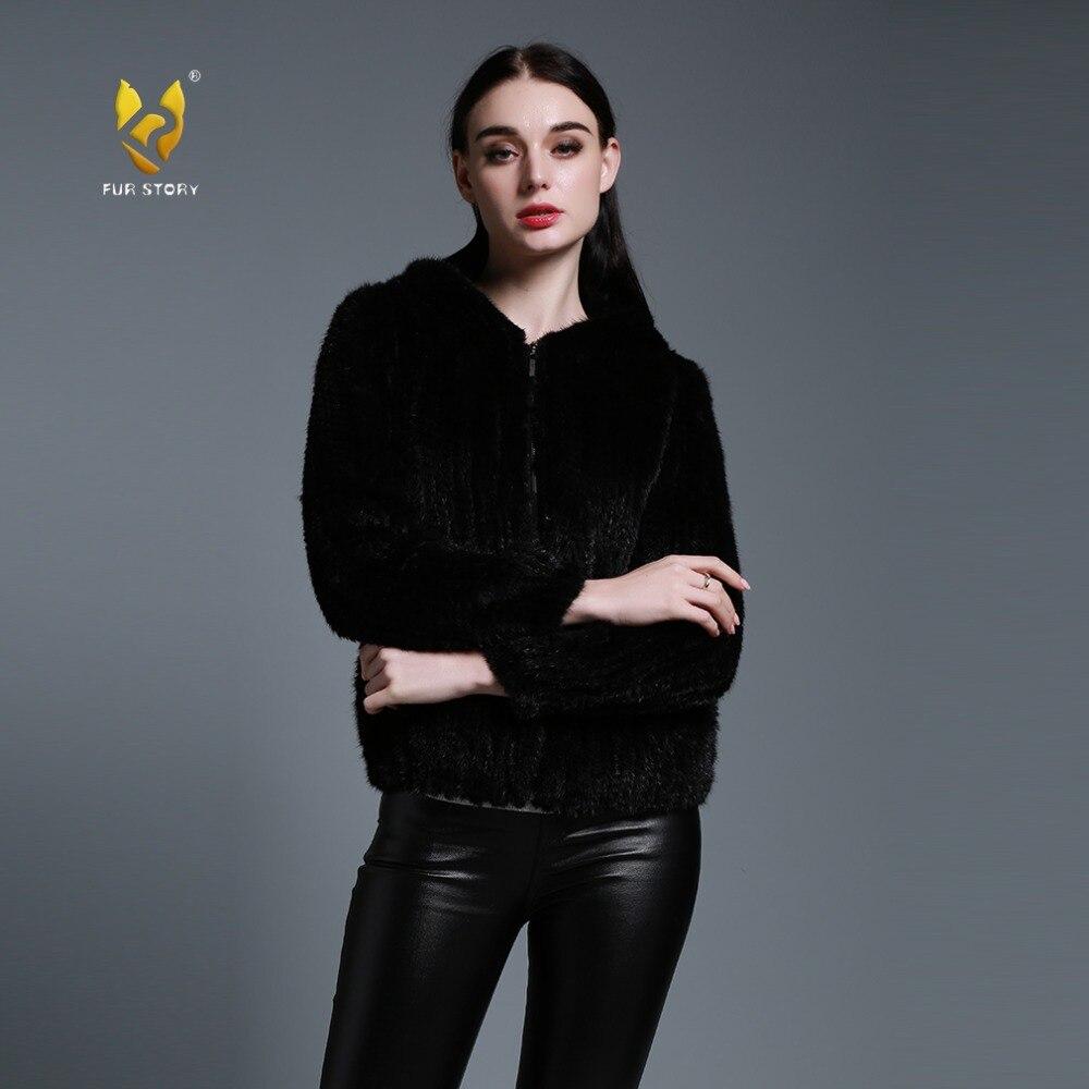 US $208.45 45% OFF Pelz Geschichte 15131A Mode Gestrickte Nerz Mantel Frauen Winter Echtpelz Jacke mit Kapuze Plus Größe Zipper Jacken Weiblich 5XL in