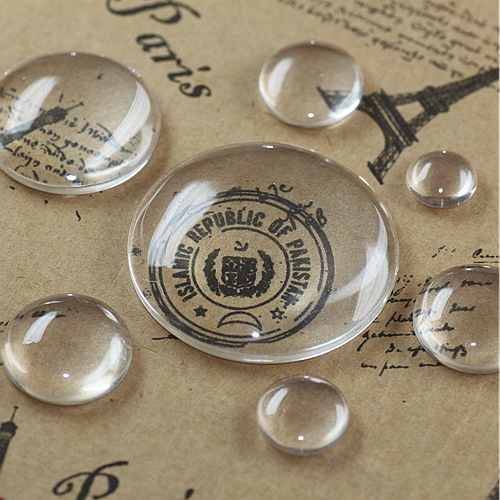 6 x Verre Cabochons Rond 12 mm love #40