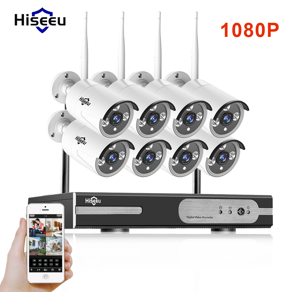 1080P Wireless CCTV System 2M 8ch HD wi-fi NVR kit Outdoor IR Night Vision IP Wifi Camera Security System Surveillance Hiseeu hd 2mp cctv system 8ch 1080p wireless nvr kit outdoor ir night vision ip wifi camera security system surveillance hkixdiste