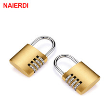 NAIERDI High Security Solid Brass Anti-Drill Lock Digital Combination Password Lock Travel Luggage Code Padlock Suitcase Locks(China)