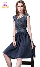 High Quality 10%OFF chest 88-96cm cotton vintage summer 2017 blue denim jeans dress women sleeveless slim a line elegant midi