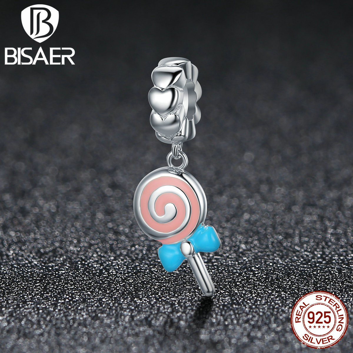 BISAER 100% 925 Sterling Silver Pink Love, Cute Lollipop Candles Charms Fit Pan Original Bracelets & Necklaces HSC349