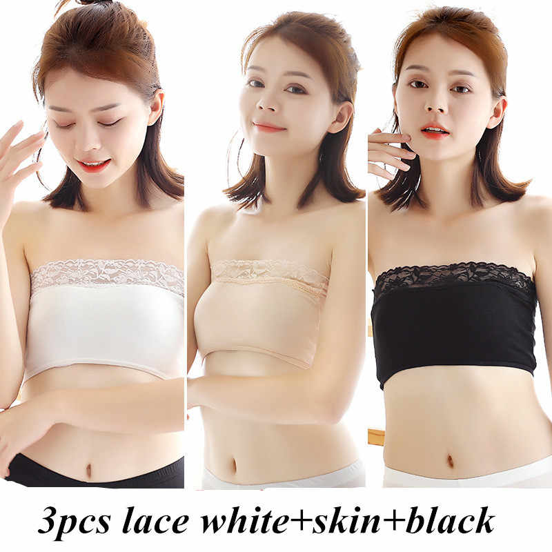 Female Strapless Boob Tube Top Bandeau Bra Lace Modal Ladies Modal Lace Stomacher Wrapped Chest Bottom Underwear