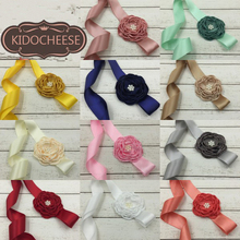 2pcs/pack Satin Flower Matching Sparking Pearl Central Belt Layered Baby Girls Waistband Kidocheese