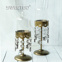 Crystal Cupcake Holder High Feet Dessert Cake Stand PC Dome Snow Pendants For Wedding Event Party
