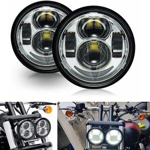 Image 1 - Новый 4,65 дюймов для мотоцикла Harley двойной светодиодный фары с DRL halo для Harley Dyna Fat Bob FXDF Модель двигателя светодиодный фонарь