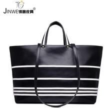 Fashion black herbst allgleiches frauen handtasche schulter horizontale streifen frauen handtasche mode handtasche große kapazität große