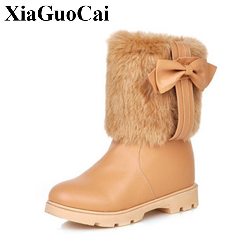 Winter New Women Boots Mid-calf Boots with Butterfly-knot Fur Solid Slip-on Non-slip Flat Shoes Fashion Sweet Snow Boots H423 35 300cm 200cm about 10ft 6 5ft backgroundswoods windmill flowers photography backdropsvinyl photography backdrop 3302 lk