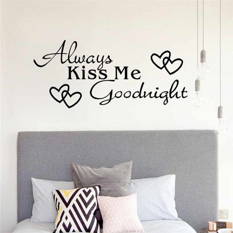 "2018 new letter Wall Sticke ""Always Kiss Me Goodnight"" Home   Wall Sticker Decal Bedroom Vinyl Art DIY Decal   hot"