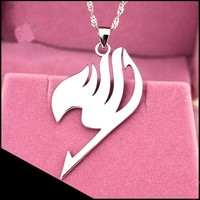 Hot new Fairy Tail necklace tattoo pendant Anime fashion jewelry leather rope for men and women wholesale 925 sterling silver