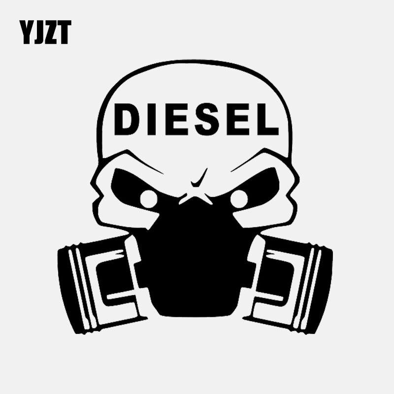 YJZT 15CM*15CM DIESEL VINYL DECAL GAS MASK CAR STICKER Black/Silver C3-1040