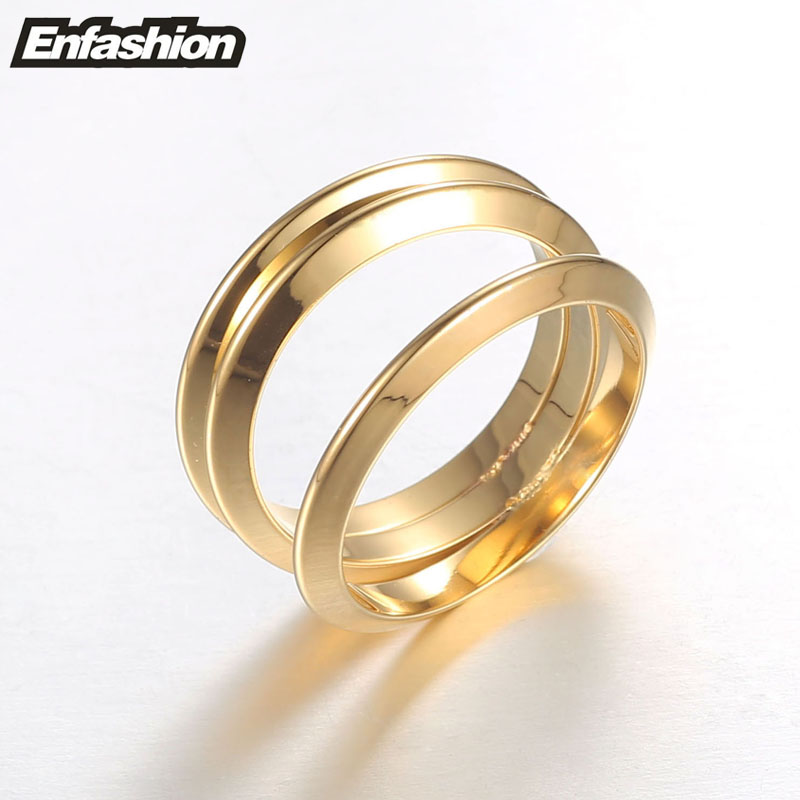 Enfashion Wholesale 3 Rows Rings Gold color Midi Ring Stainless Steel Ring Knuckle Rings For Women Jewelry Bagues Anillos lg 60uf771v