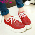 VALLKIN Arrival Glitter Lace Up Ladies Square Toe Platform Casual Shoes Size 34-43 Spring Autumn Women Wedges High Heel Pumps