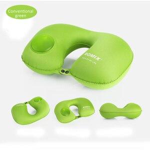Image 5 - Almohada para el cuello Kit de viaje para avión, tipo de presión portátil, almohada de viaje inflable automática, cojín de soporte para el cuello, almohada en U para coche