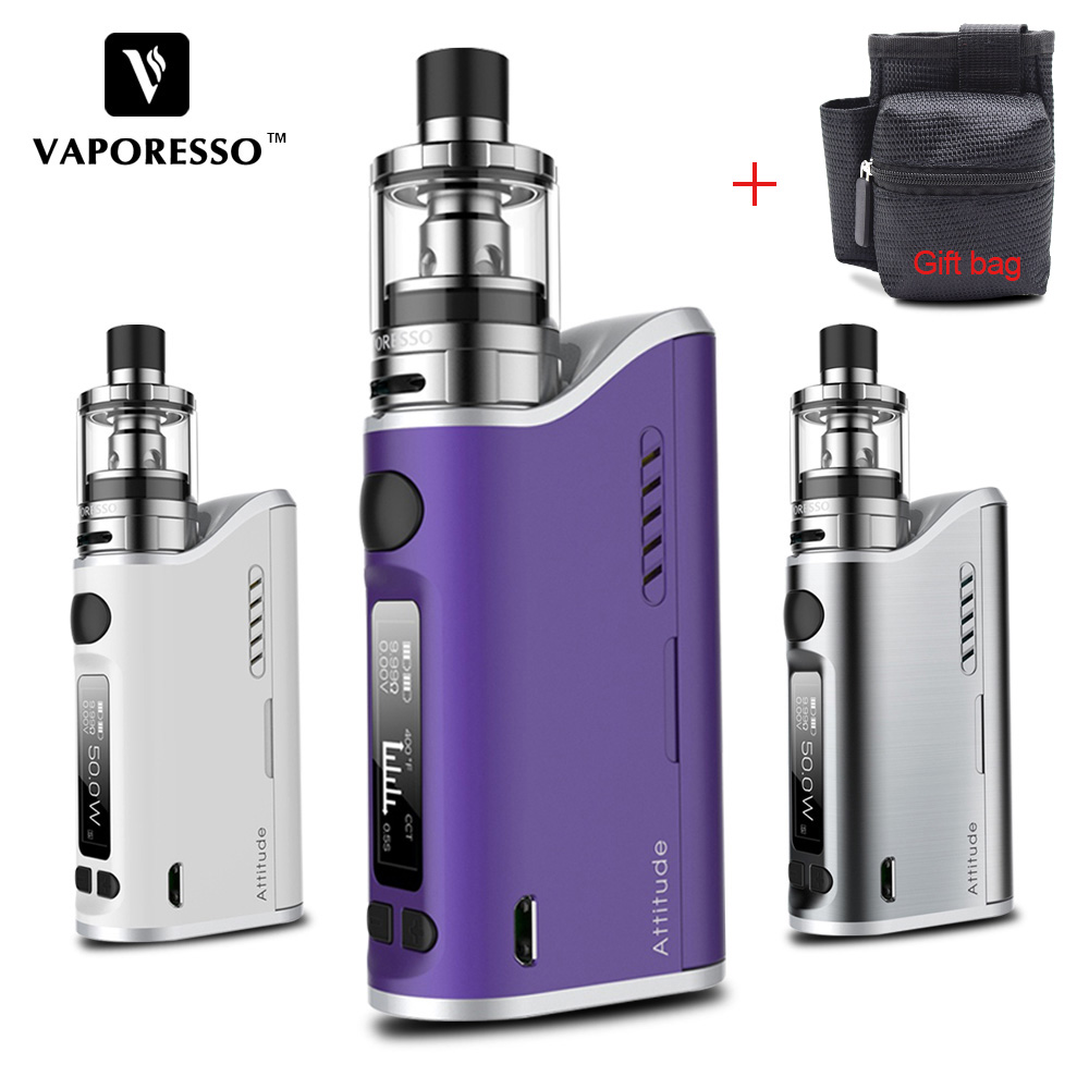 Original 80W Vaporesso E-cigarettes Attitude EUC Kit with TC VW Vape Box Mod Estoc Tank Compatible EUC Ceramic Traditional coil цены