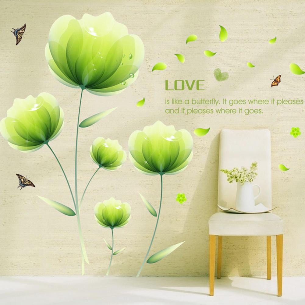Aliexpress.com : Buy 1pcs 300*180cm Removable Green Flower Wall ...